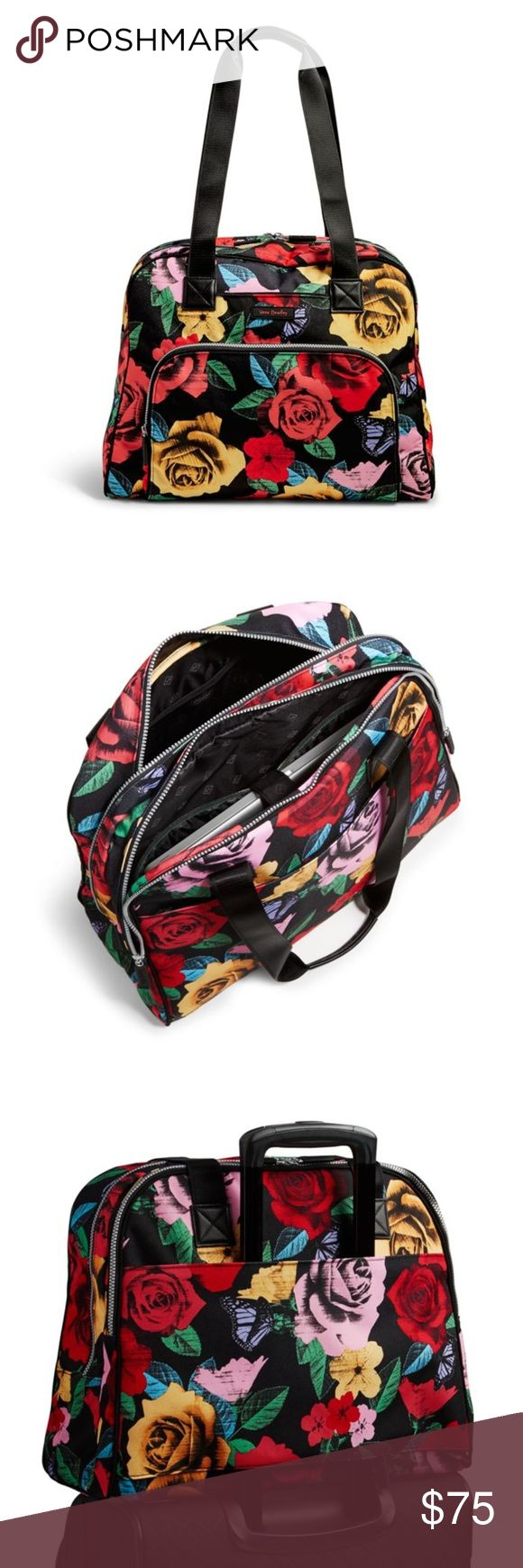 Vera Bradley Go Anywhere Carry-On in Havana Dots This lightweight, colorful, carry-on luggage piece includes lots of pockets for organizing and a laptop compartment. Send us a postcard from the road! Lighten Up fabrication is lightweight, durable and water-repellent. Exterior features front slip pocket and a rear pocket that unzips to form a trolley sleeve. Interior features two slip pockets, five elastic mesh slip pockets, one zip pocket and a laptop compartment. Also includes a shoe bag…