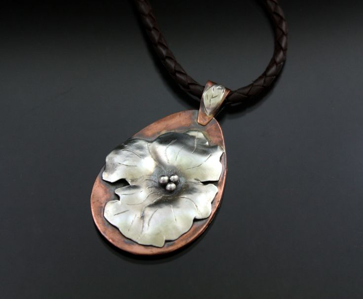 "Copper and Argentium Sterling Silver ""Morning in May"" pendant By gail Williams jewelry"