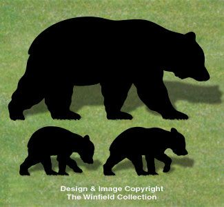 Bear Family Shadow Wood Pattern NEW!  A lot of people will look twice when they see these life-size bears wandering across your yard!