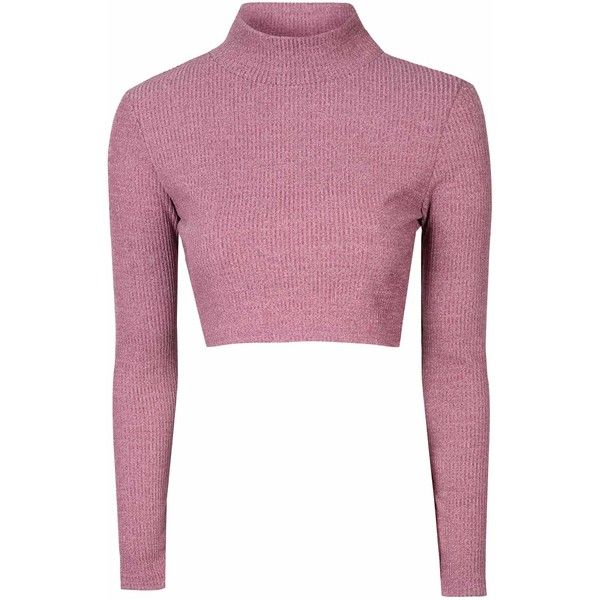 Pink High Neck Cropped Jumper ($26) ❤ liked on Polyvore featuring tops, sweaters, shirts, crop tops, pink, crop top, leather long sleeve shirt, long sleeve shirts, leather shirt and white long sleeve shirt