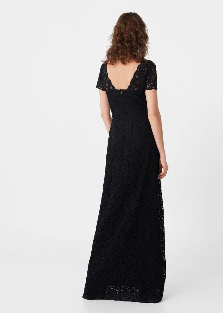 Robe longue guipure | MANGO