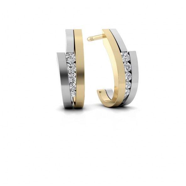 Cato oorknopjes - gemaakt van 14 karaat witgoud met geelgoud. Verrijkt met totaal 0.24 ct diamanten.