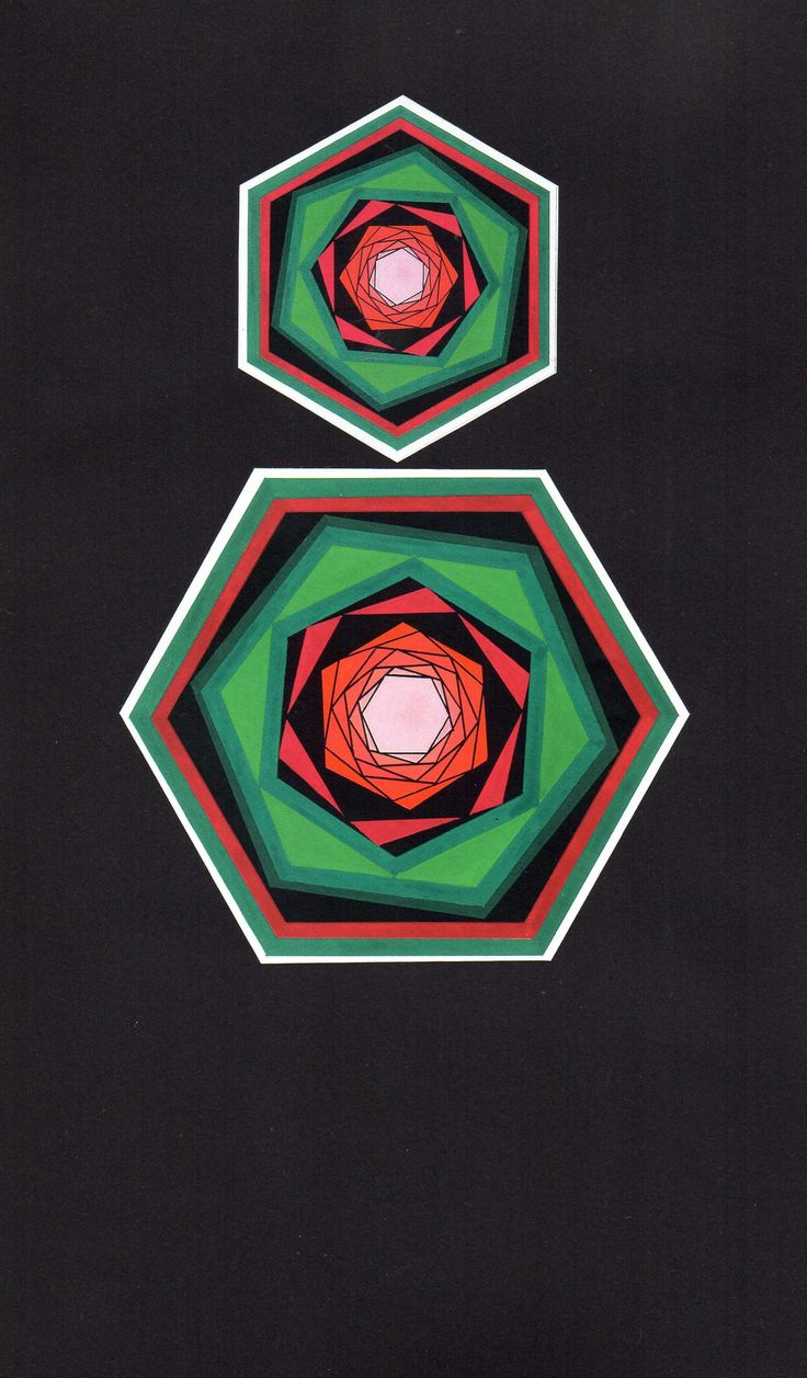 Influenced by Vasarely, I experimented with geometric shapes in the 1970s. Acrylic on card.