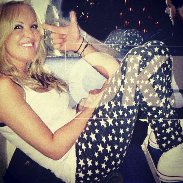 Natalia Germanou wearing Chip & Chip printed pants.