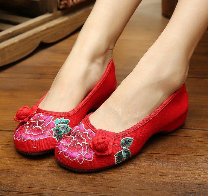 Vieilles Chaussures En Tissu Chinois Pékin De Mocassins Plats Classiques XVpYR7R