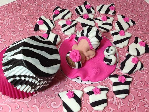 Baby in a Zebra Tutu/Fondant baby/ Fondant baby girl/ edible