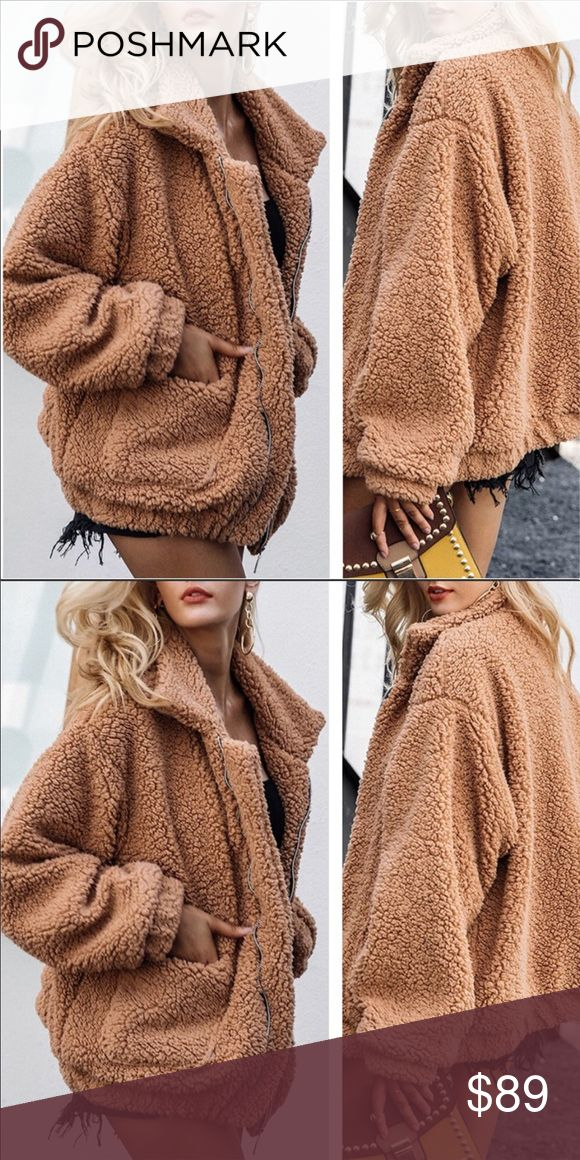 NEW⚡️Luxe Sherpa Jacket 🌵Luxurious camel teddy sherpa jacket with front pockets and zipper closure!  Ultra cute and on trend! Pair it with our ...