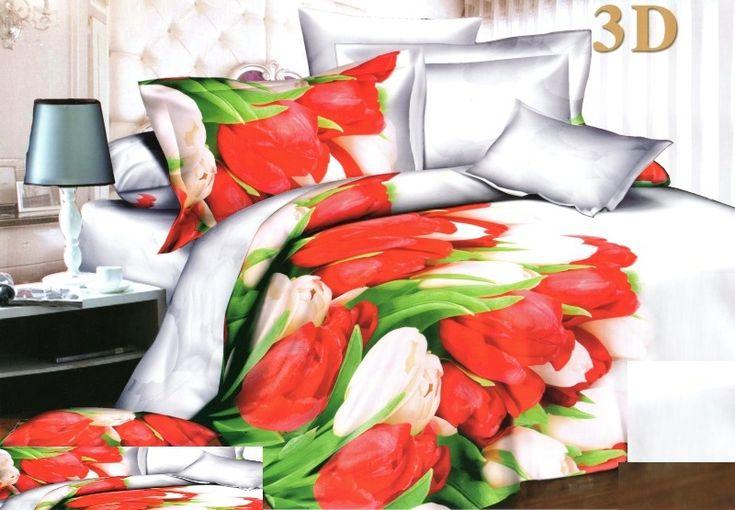 Biele posteľné obliečky s bielymi a červenými tulipánmi