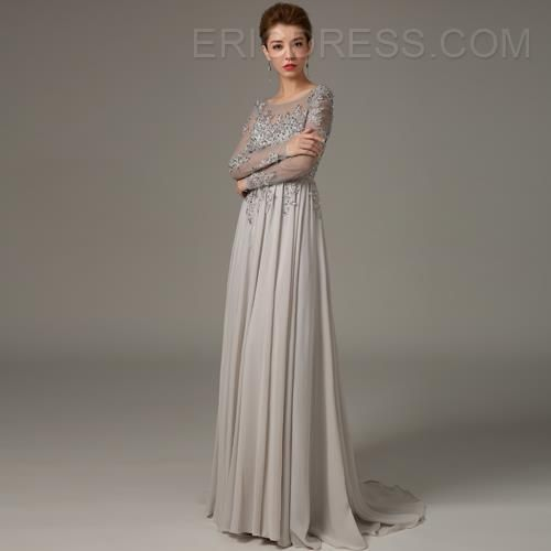 Mysterious Long Sleeves Backless Beading A-Line Evening Dress 2