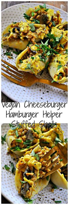 """These vegan stuffed shells are filled with a vegan """"cheeseburger"""" mixture made from TVP, mushrooms and the best vegan cheese sauce of all time."""