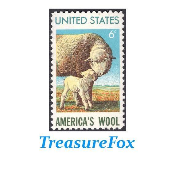 America/'s Wool Vintage Mint Set of 4 Stamps 49 Years Old! Sheep /& Ewe