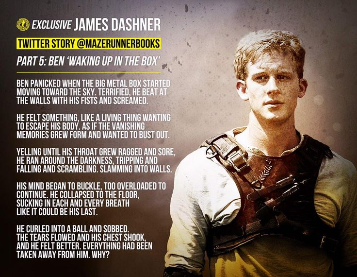 Ben in the Box by James Dashner<<<am I the only one who thought Ben was probably the best, well-loved Glader before he got stung. I just feel like he was a really nice guy, and then a Griever came along