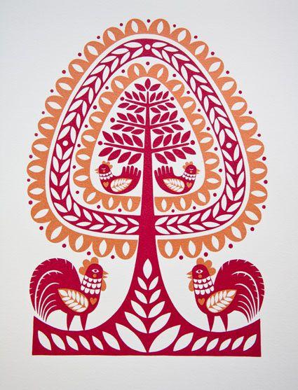 karoline made this: Folk Art Inspired Screen Prints