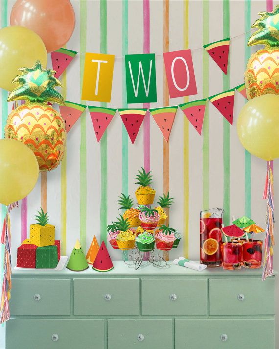 Birthday Theme Decoration Ideas Part - 30: Party Kit // Tutti Frutti Party Theme // Downloadable + Printable