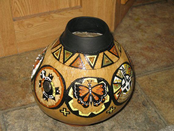 SOUTHWESTERN VASE Painted Gourd Vase  by Bjsgourdartetc on Etsy, $250.00