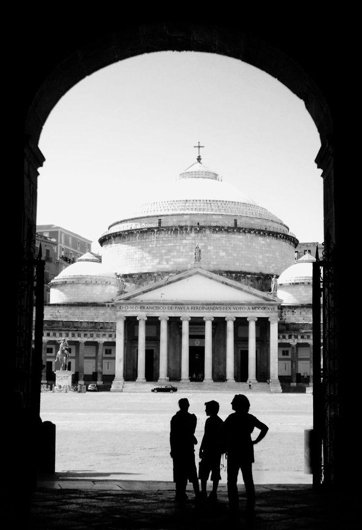 `Napoli, (Naples, Italy) Piazza Plebiscito and Chiesa San Francesco di Paola from Palazzo Reale.