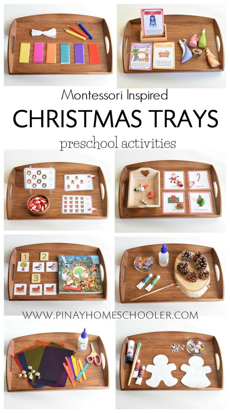 Christmas tray activities for preschoolers, Montessori inspired