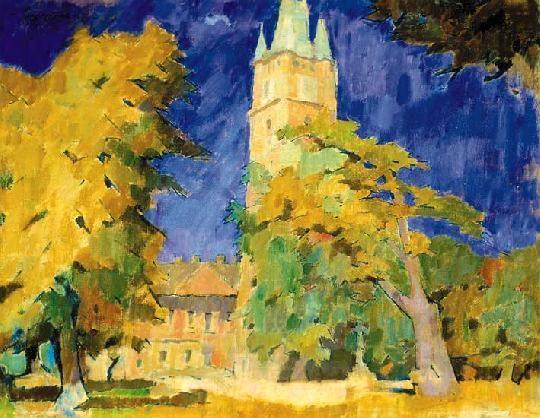 Nagy, Oszkár (1883-1965)  -  St. Stephen's tower in Nagybánya, 1953