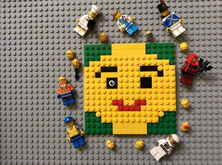 Мозаика ЛЕГО. Портрет Лего-детали! Не узнали? Это же голова, так нужная всем Лего-человечкам! Барбарич Константин, 7 лет.