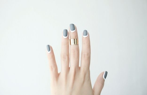 Gray is a great neutral base as well. | 25 Eye-Catching Minimalist Nail Art Designs