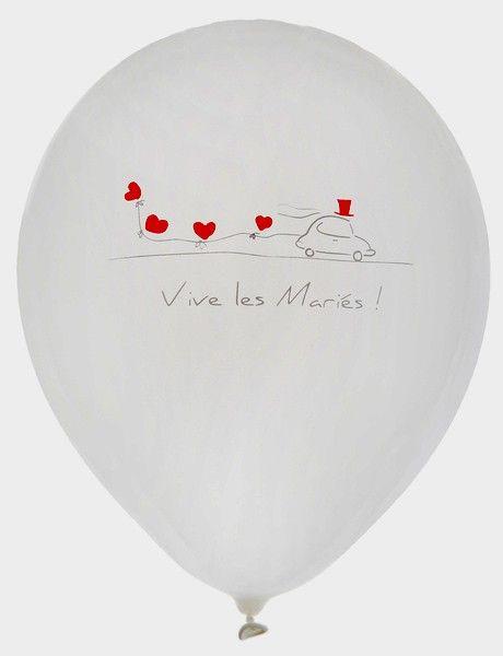 8 ballons imprimés Vive Les Mariés 23 cm blancs mariage pas cher