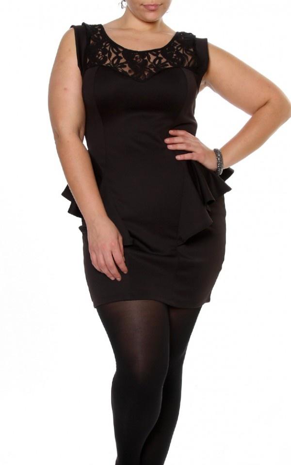 Black Floral Lace Shoulder Cap Sleeve Sexy Peplum Plus Size Mini Dress $30.95