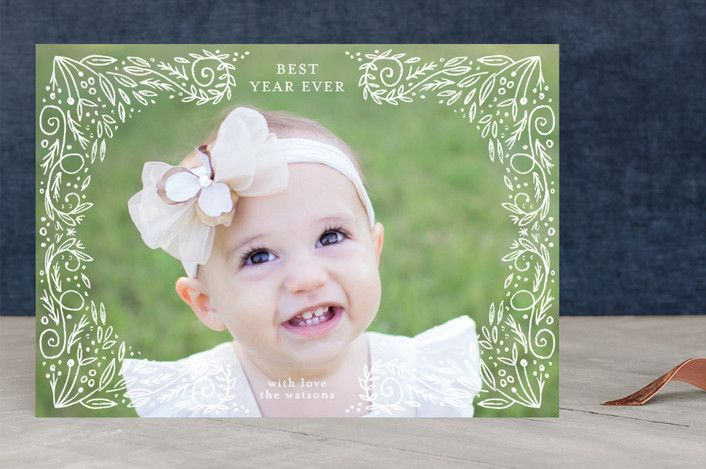 """organic doodle frame"" - Floral & Botanical, Full-Bleed Photo Christmas Photo Cards in white by Phrosne Ras."