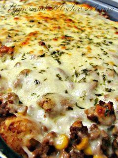 Cowboy Lasagna.....tater tots,ground beef, corn, tomato soup, mozzarella cheese.