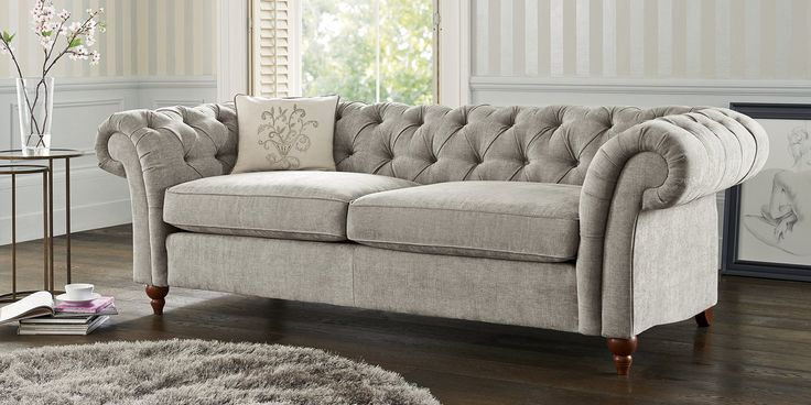 Buy Gosford Buttoned Large Sofa 3 Seats Sumptuous Velour Mid Silver Lowturned Dark From The Next Uk Online Shop Home Furniture Furniture Sofa