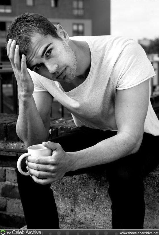 having coffee with Theo James