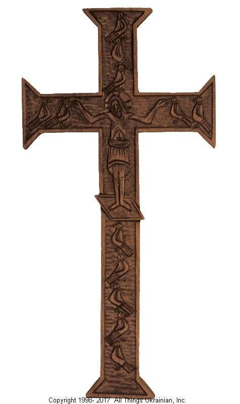 Ukrainian Hand Carved Carpathian Wood Cross # WCR1603 on AllThingsUkrainian.com