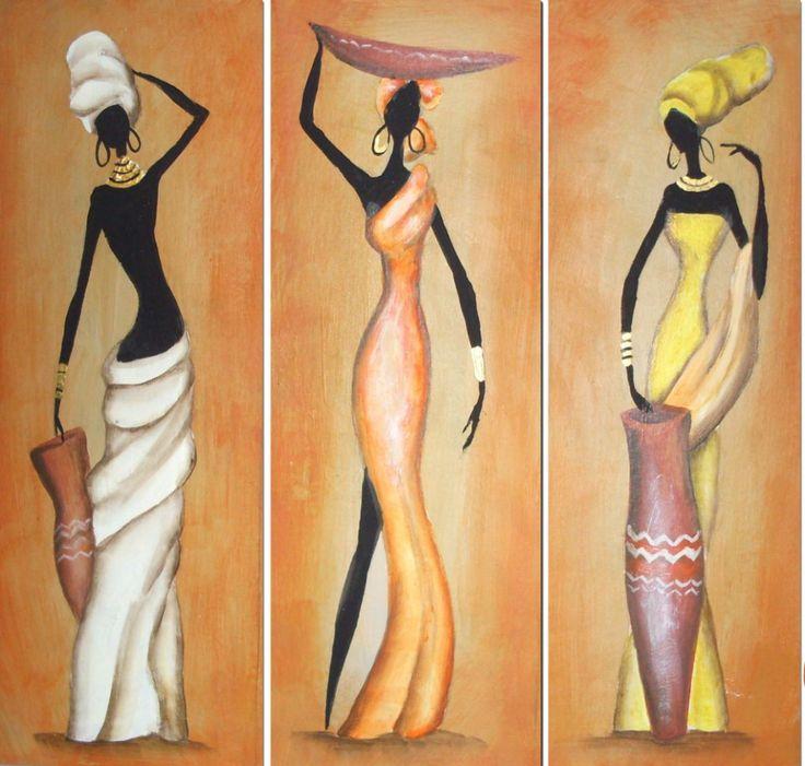 Cuadros Modernos Tripticos Paisajes Africanos Texturados -