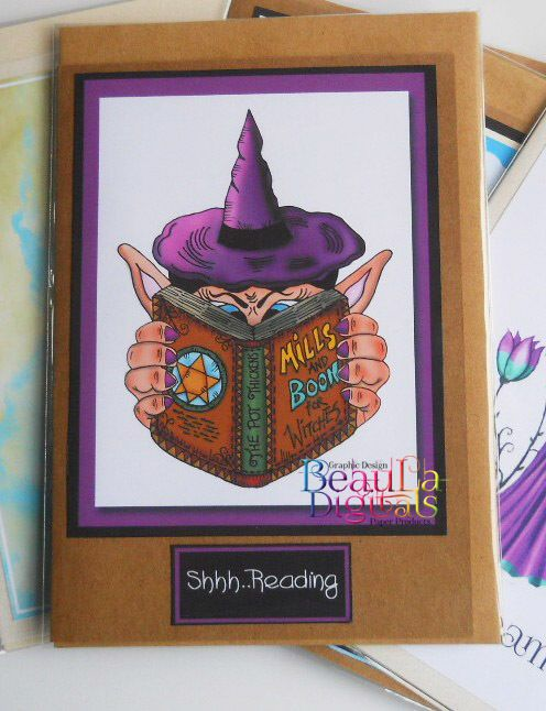 Fun Card - Book Witch - Greeting Card for any occasion  - Shh I m Reading