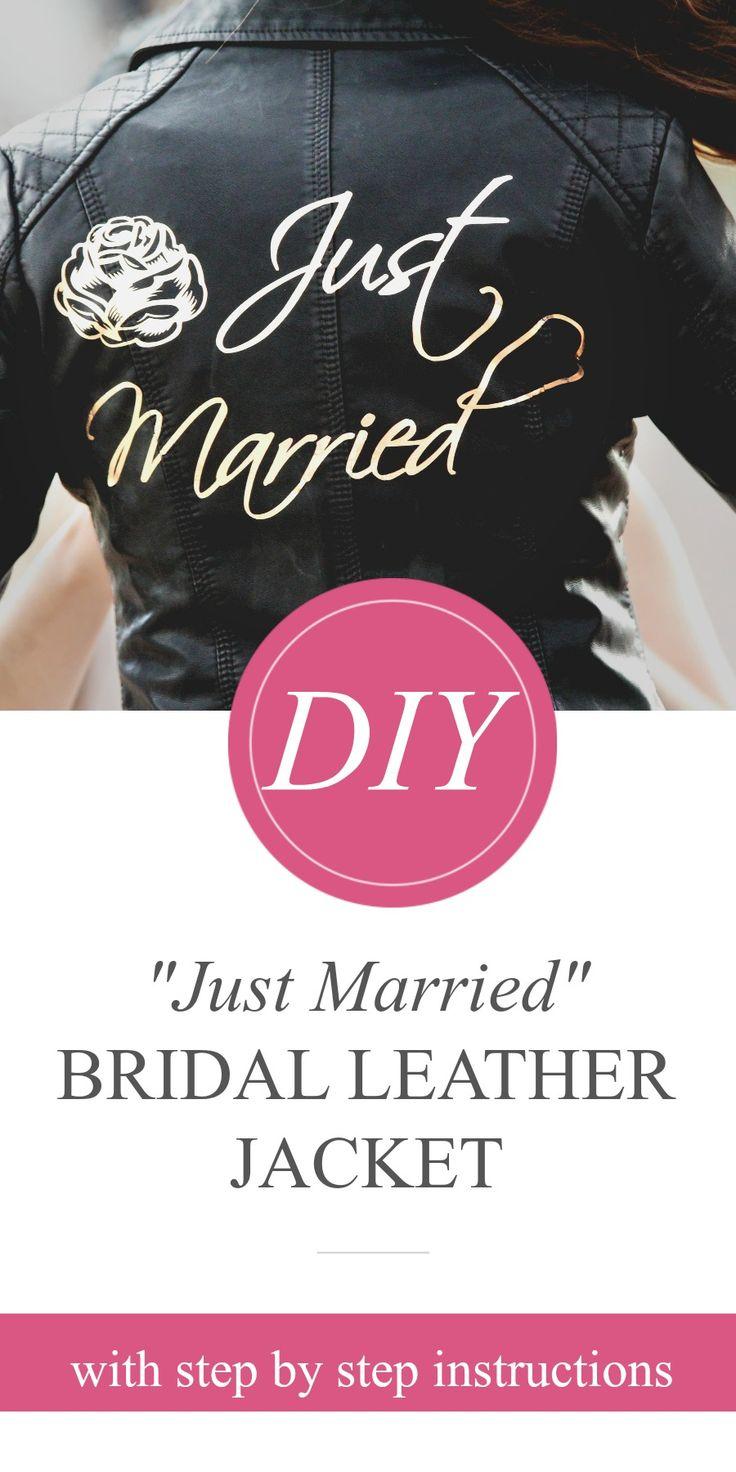 "DIY ""Just Married"" Bridal Leather Jacket with Cricut | #CricutMade @cricut"
