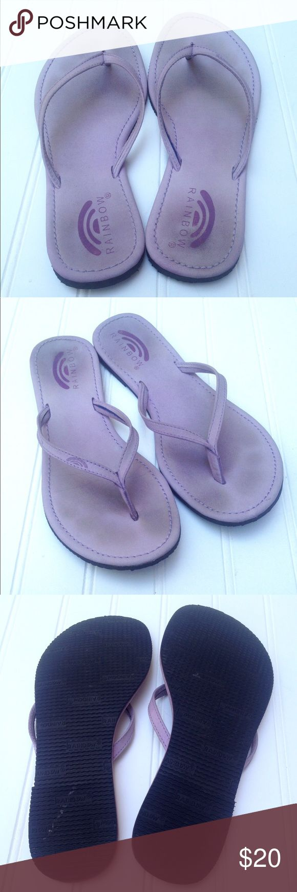 """Lavender leather Rainbow flip flops sandals Very gently loved lavender purple leather sandal flip flop Rainbows. No significant wear to heels, front edges or soles. See pics for proof of condition. Thin strap upper and textured black rubber sole. No memory foam cushion or layering. Size 7/8. Insole measures 10"""" long and 3 3/4"""" wide at widest. Worn just a couple times. Feel free to ask questions or make an offer! Rainbow Shoes Sandals"""