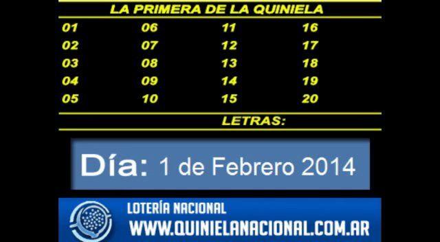 Loteria Nacional - La Quiniela Nacional Primera Sabado 1 de Febrero de 2014. Fuente: www.quinielanacional.com.ar