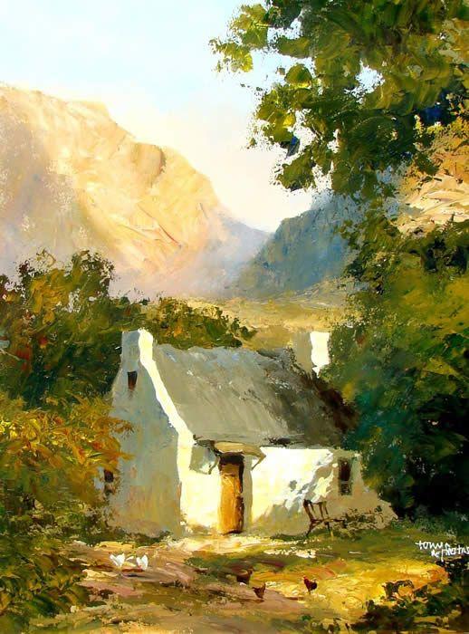 Tony de Freitas -- Cape Dutch painting, acrylic