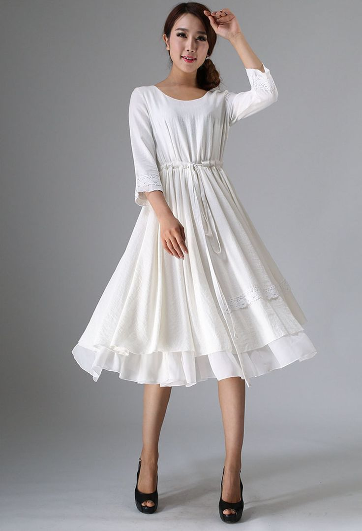 White Linen Dress   Women Tea Length Dress With Lace Detail   Custom Made  (960