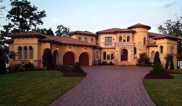 >>>>>  Mediterranean/Tuscan Style Home -- Plan #W17703LV ... Front Exterior (9104 sq ft)
