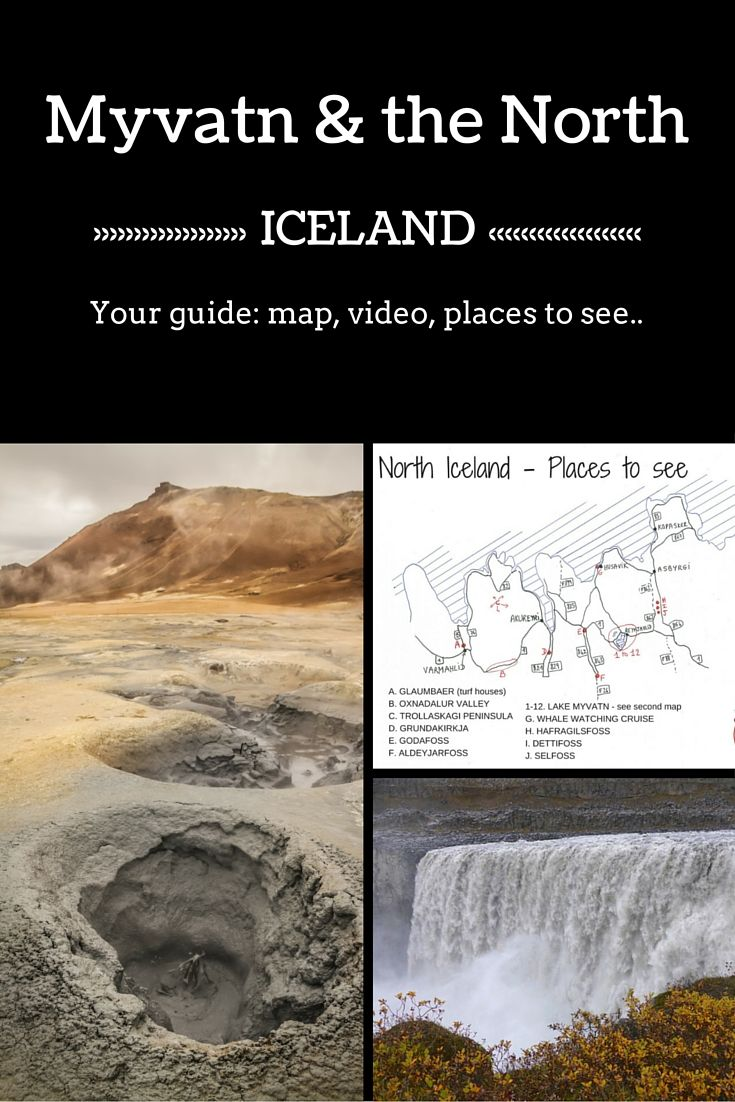 Destination travel guide - Plan your time at lake Myvatn and the North of Iceland - Includes a detailed map, a video, places to see with access to many photos