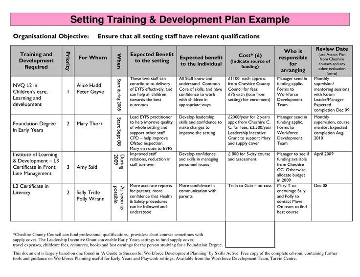 Individual Training Plan Template  ApigramCom