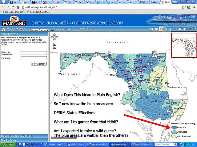 Maryland Flood Plain Map by Frederick Md Publicity, Usability FAIL by this State of Maryland website