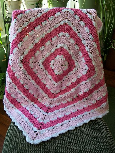 Precious Square Baby Blanket. free pattern by Mary Jane Protus. Pic from Ravelry Project Gallery.  . . .  ღTrish W ~ http://www.pinterest.com/trishw/  . . . #crochet #afghan #throw #pillow