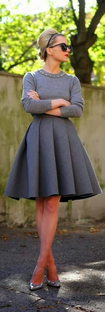 Gray skirt sweater and high heel. gimme! gimme! gimme!