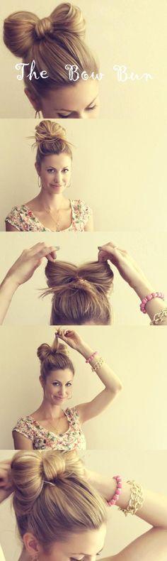 Bow top bun. Cute idea! especially for little girls | Hairstyles