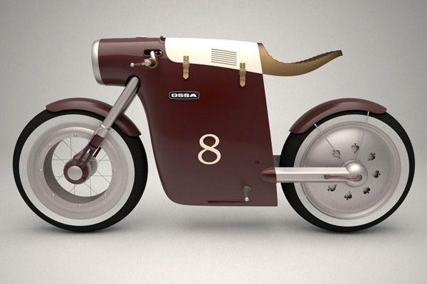 The Monocasco Concept Bike is an electric version inspired by the original Ossa monocasco bike of Santiago Herrero.