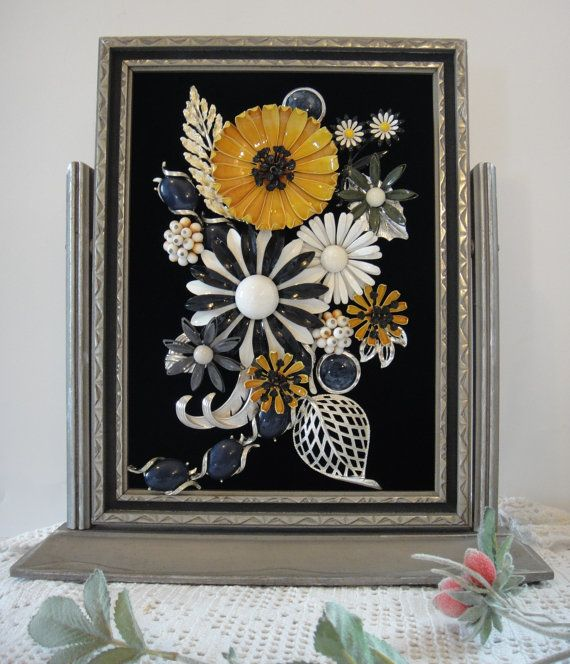Retro Black White Jewelry Picture , Jewelry in Frame Flower Garden , Vintage Jewelry Art by VintageRedo