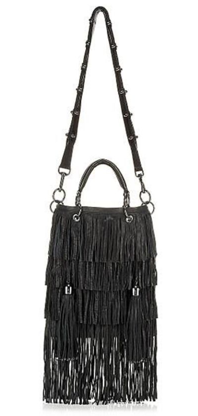 """Thomas Wylde """"Nomad Fringe Bag"""" Soft crinkled grained leather, polished gunmetal hardware, rolled handles with two-ring attachments"""