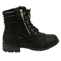 This is the perfect pair of combat boots for this season. It features a round toe front, rubber track sole, stitched detailing and padded insole for all day comfort. Side quilted panels, lace up const