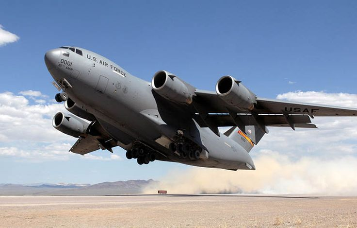 Boeing C-17 Globemaster III. Length: 174 ft One of the largest military transport aircraft ever built, the Globemaster III was produced between 1991 and 2015. The per unit cost was $218 million.